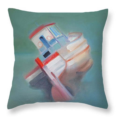 Fishing Boat Throw Pillow featuring the painting Boat Retired Tavira by Charles Stuart