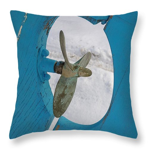 Boat Throw Pillow featuring the photograph Boat Rudder by Randy Pollard