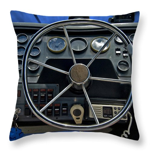 Transportation Throw Pillow featuring the photograph Boat Steering Wheel by Thomas Woolworth