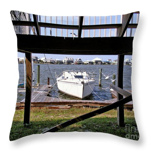 Boat Throw Pillow featuring the photograph Boat View Under The Stairway by Marian Bell