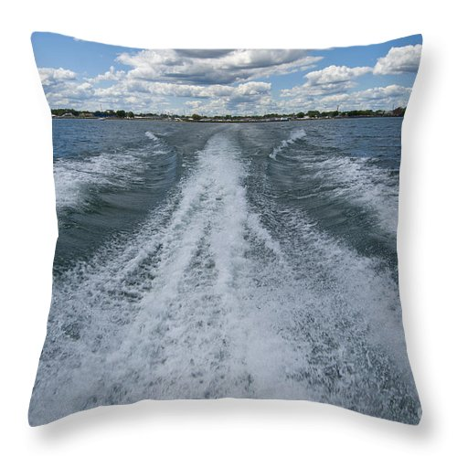 Transportation Throw Pillow featuring the photograph Boat Wake 02 by Thomas Woolworth