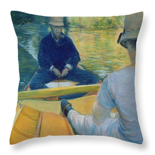 Canotiers Sur L'yerres Throw Pillow featuring the painting Boaters On The Yerres by Gustave Caillebotte