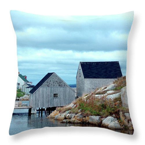 Blue Throw Pillow featuring the photograph Boathouses by Kathleen Struckle