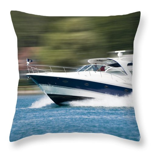 Transportation Throw Pillow featuring the photograph Boating 02 by Thomas Woolworth