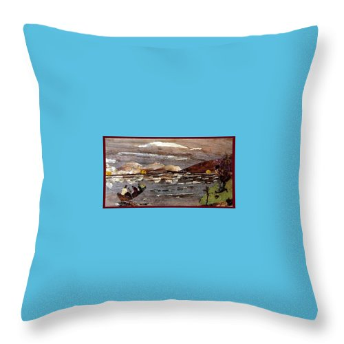 Boating Scene Throw Pillow featuring the mixed media Boating In River by Basant Soni