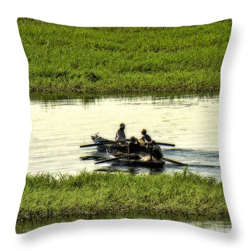 Boating Throw Pillow featuring the photograph Boating On The Nile River by Christy Lang