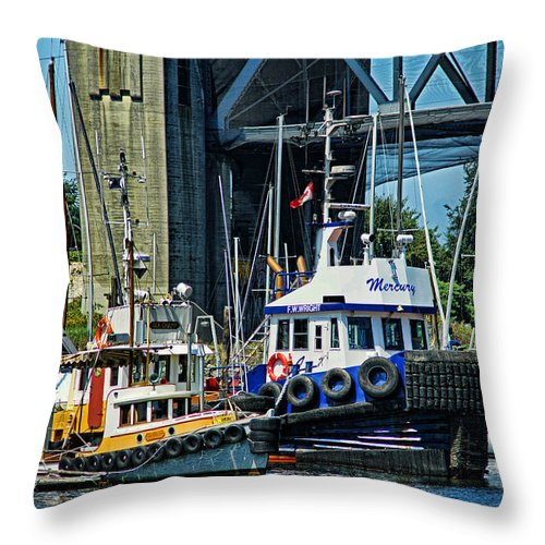 Boats Throw Pillow featuring the photograph Boats And Tugs Hdrbt3221-13 by Randy Harris