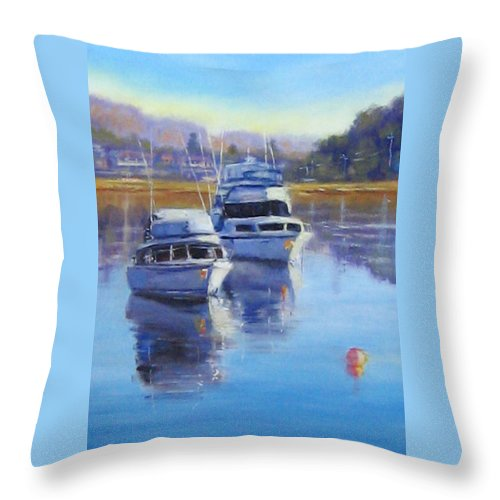 Boats Throw Pillow featuring the painting Boats At Merimbula Australia by Diane Quee