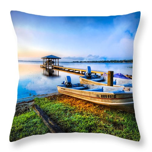 Boats Throw Pillow featuring the photograph Boats At The Lake by Debra and Dave Vanderlaan