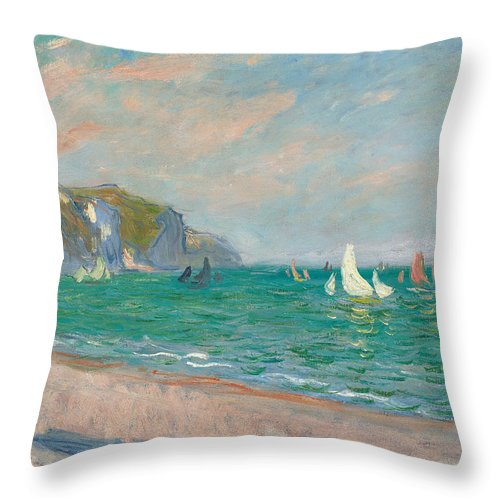 French Throw Pillow featuring the painting Boats Below the Pourville Cliffs by Claude Monet