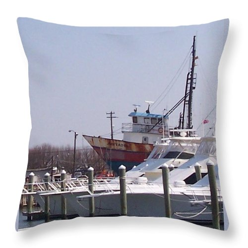 Boat Throw Pillow featuring the photograph Boats Docked by Pharris Art