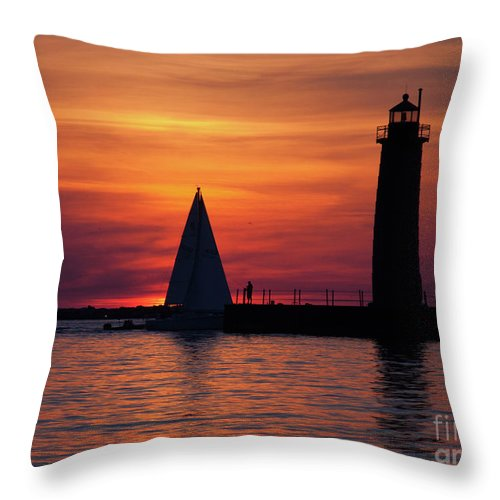 Nautical Throw Pillow featuring the photograph Boats Entering The Channel At The Muskegon Lighthouse by John Harmon