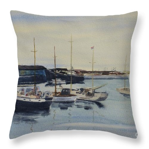 Boat Throw Pillow featuring the painting Boats In A Harbour by Martin Howard
