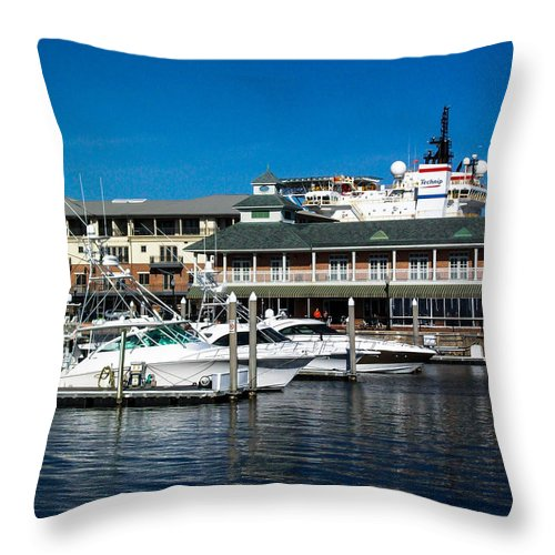 Boats In Port Throw Pillow featuring the photograph Boats In Port 3 by Mechala Matthews