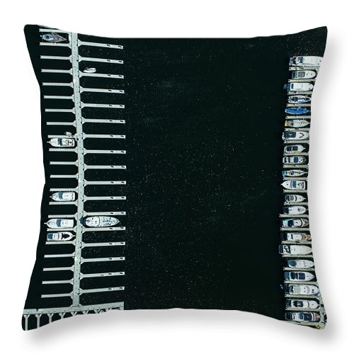 Tranquility Throw Pillow featuring the photograph Boats In The Harbour by Michael H
