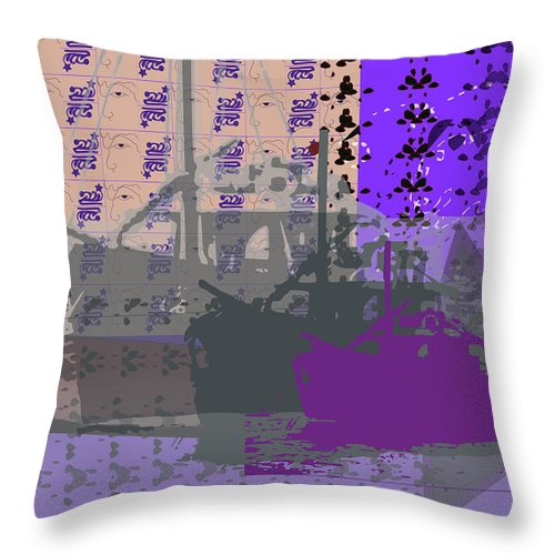 Boats Throw Pillow featuring the digital art Boats Infinite by Keshava Shukla