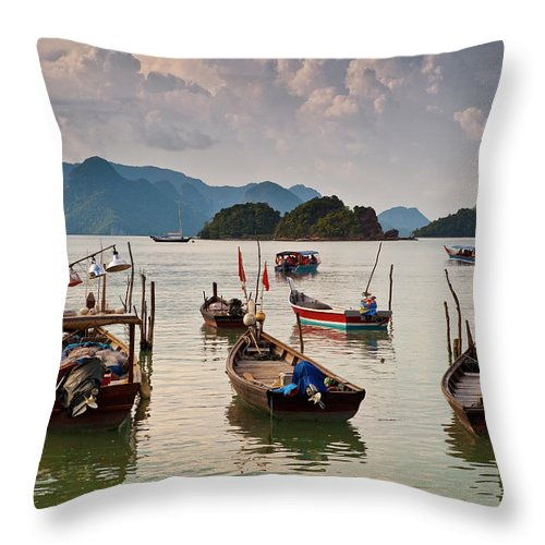 Southeast Asia Throw Pillow featuring the photograph Boats Moored In Sea, Teluk Baru by Richard I'anson