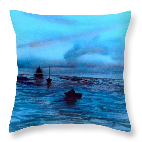 Boats Throw Pillow featuring the painting Boats On The Chesapeake Bay by Kendall Kessler
