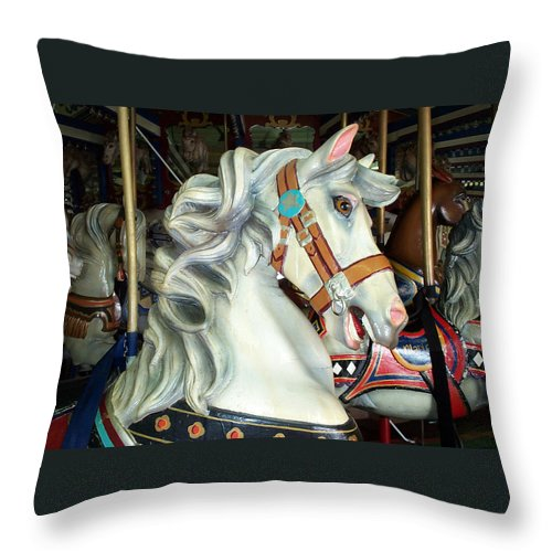 Carousel Throw Pillow featuring the photograph Bob by Barbara McDevitt
