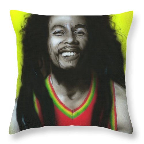 Bob Marley Throw Pillow featuring the painting Bob by Christian Chapman Art