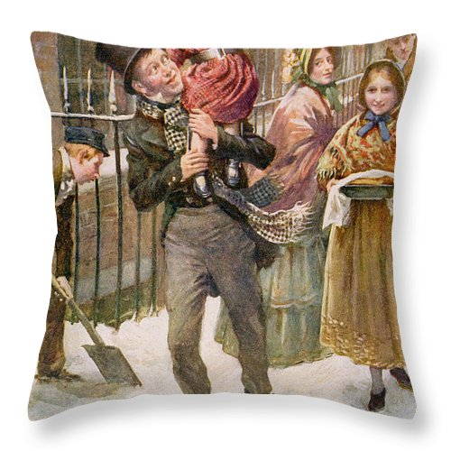 Charles Dickens Throw Pillow featuring the painting Bob Cratchit And Tiny Tim by Harold Copping