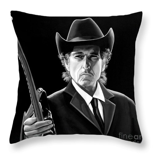 Bob Dylan Throw Pillow featuring the mixed media Bob Dylan 2 by Meijering Manupix