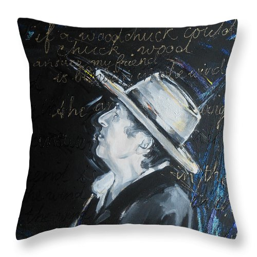 Bob Dylan - Blowing In The Wind Throw Pillow featuring the painting Bob Dylan - Blowing In The Wind by Lucia Hoogervorst