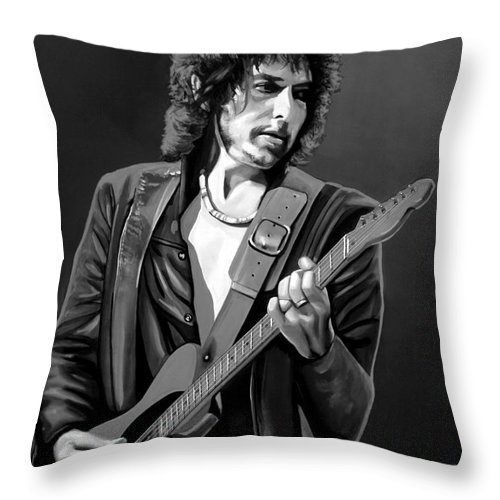 Bob Dylan Throw Pillow featuring the mixed media Bob Dylan by Meijering Manupix