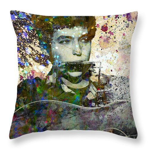 60s Throw Pillow featuring the painting Bob Dylan Original Painting Print by Ryan Rock Artist