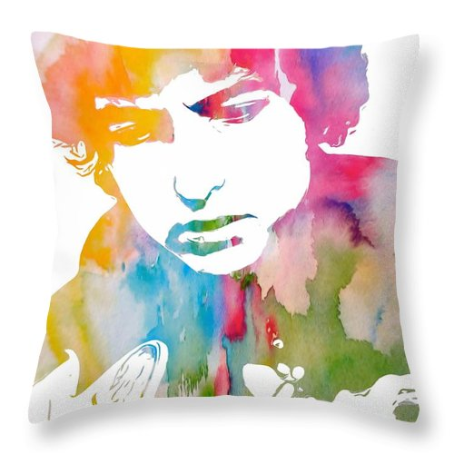 Bob Dylan Watercolor Throw Pillow featuring the painting Bob Dylan Watercolor by Dan Sproul