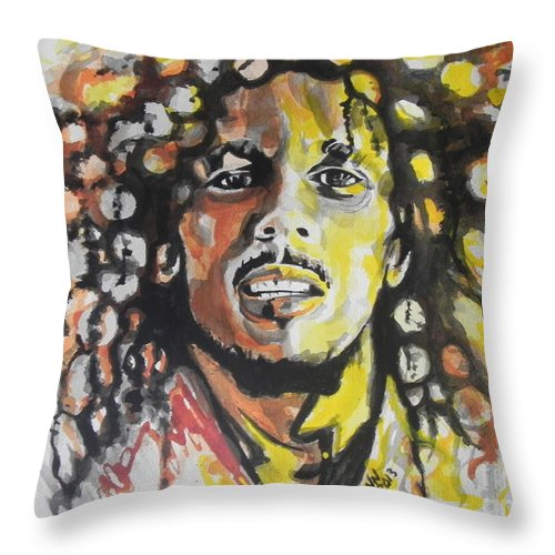 Watercolor Throw Pillow featuring the painting Bob Marley 02 by Chrisann Ellis