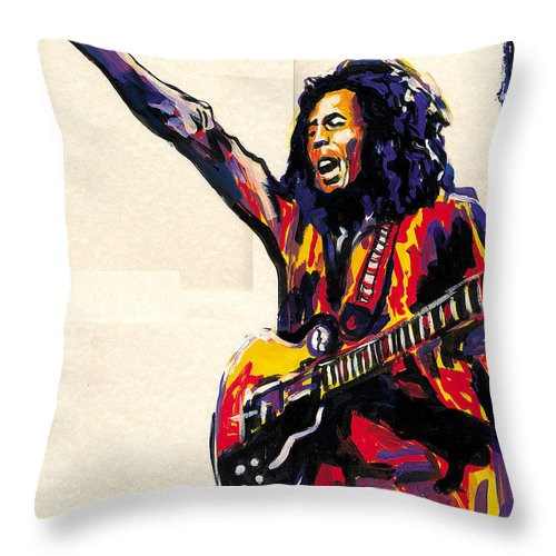 Everett Spruill Throw Pillow featuring the painting Bob Marley - One Love by Everett Spruill