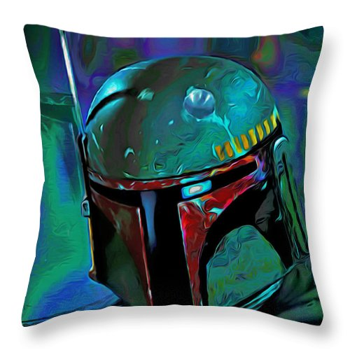 Boba Fett Throw Pillow featuring the painting Boba Fett 3 by Fli Art