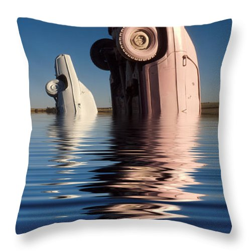 Cadillac Throw Pillow featuring the photograph Bobbing For Carburetors by Jerry McElroy