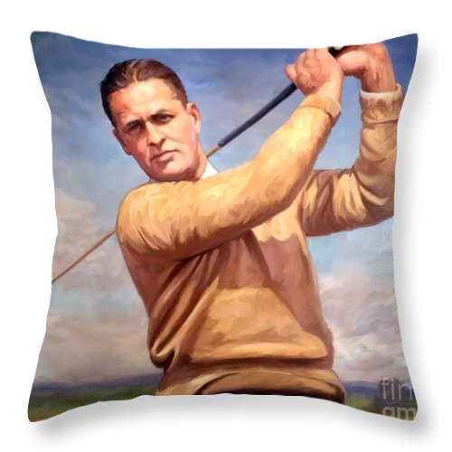 Bobby-jones Throw Pillow featuring the painting bobby Jones by Tim Gilliland