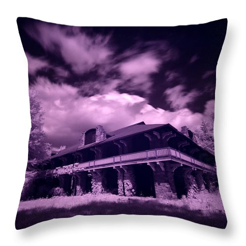 Boblo Island Throw Pillow featuring the photograph Boblo Roller Rink - Infrared by Cale Best