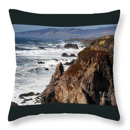 Bodega Bay California Wave Waves Water Oceans Sea Seas Pacific Ocean Bays Rock Rocks Spray Shore Shores Shoreline Shorelines Coast Coasts Hill Hills Cliff Cliffs Coastline Coastlines Waterscape Waterscapes Throw Pillow featuring the photograph Bodega Bay Color by Bob Phillips