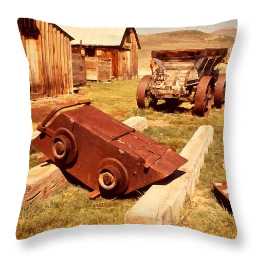 Ghost Town Bodie California Throw Pillow featuring the digital art Bodie Ghost Town Ore Car by Dick Rowan