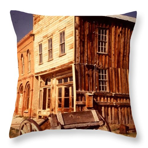 Ghost Town Bodie California Throw Pillow featuring the digital art Bodie Ghost Town Wagon by Dick Rowan