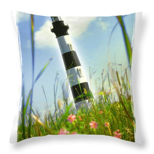 Lighthouse Throw Pillow featuring the photograph Bodie Light II by Mike McGlothlen