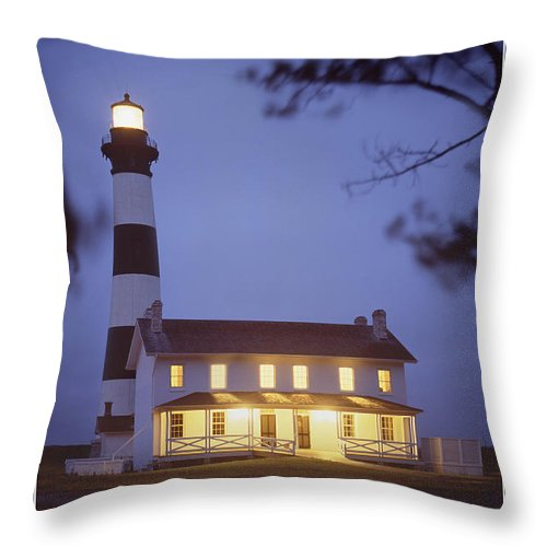 Evening Scene Throw Pillow featuring the photograph Bodie Light Just After Dark by Mike McGlothlen