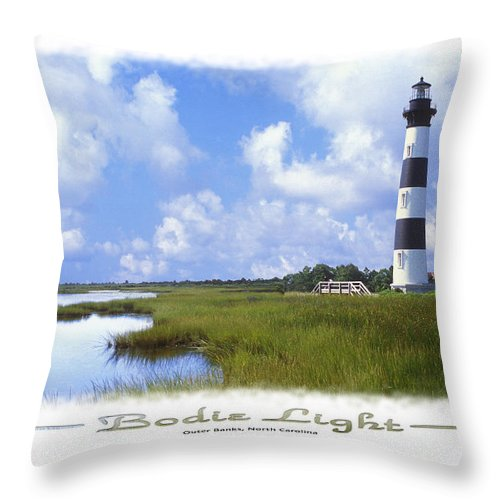 Bodie Lighthouse Throw Pillow featuring the photograph Bodie Light S P by Mike McGlothlen