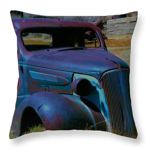 Barbara Snyder Throw Pillow featuring the digital art Bodie Plymouth by Barbara Snyder