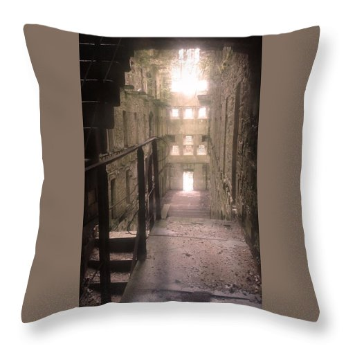 Jail Throw Pillow featuring the photograph Bodmin Jail Looking In by Lisa Byrne