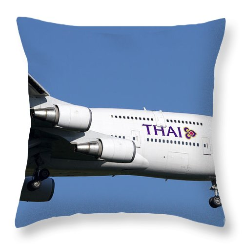 Sky Throw Pillow featuring the photograph Boeing 747-400 Of Thai International by Luca Nicolotti