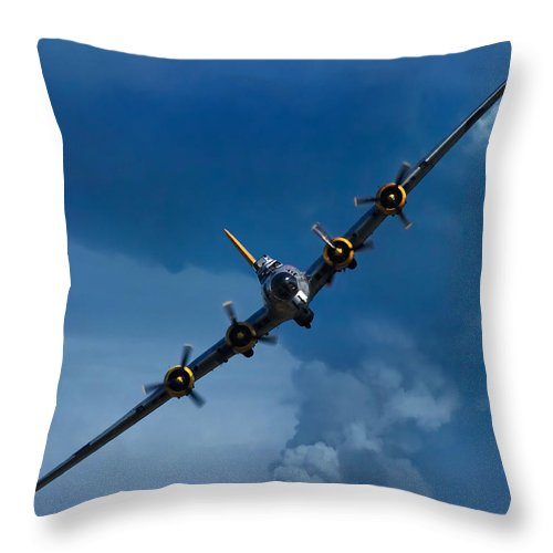 3scape Throw Pillow featuring the photograph Boeing B-17 Flying Fortress by Adam Romanowicz