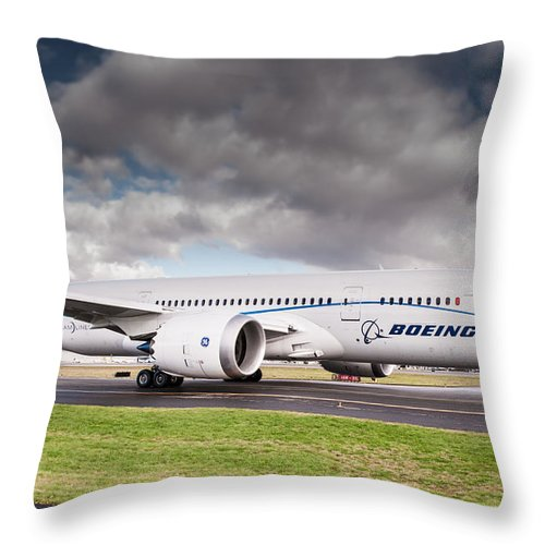 Aviation Throw Pillow featuring the photograph Boeing Dreamliner 787 by Puget Exposure