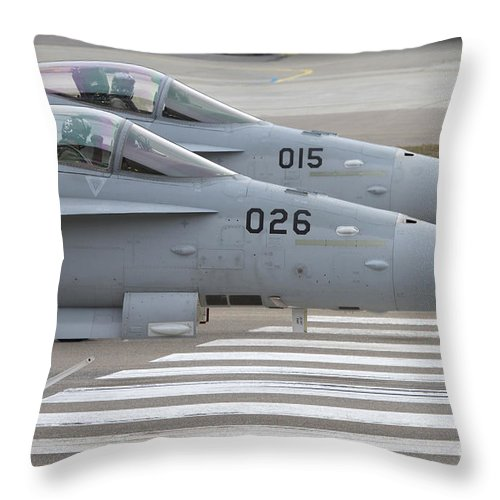 No People Throw Pillow featuring the photograph Boeing Fa-18 Hornets Of The Swiss Air by Luca Nicolotti