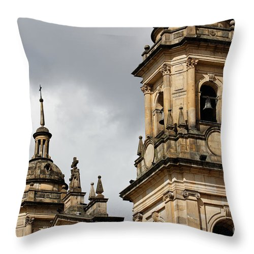 America Throw Pillow featuring the photograph Bogota Cathedral Towers by Jannis Werner