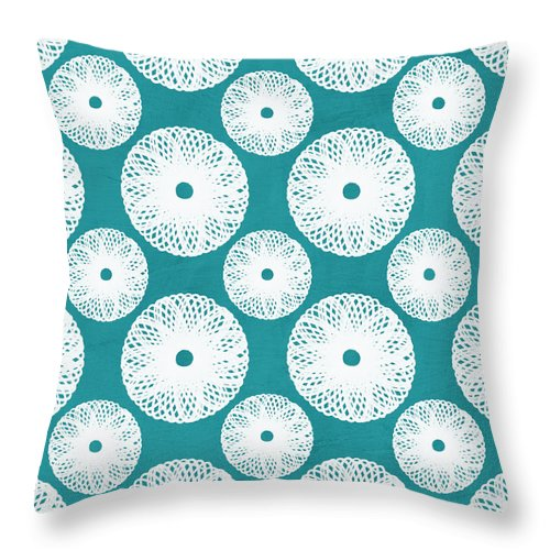 Boho Throw Pillow featuring the mixed media Boho Floral Blue And White by Linda Woods